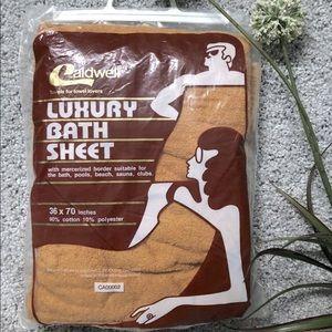 Vintage 70s Bath Towel Caldwell Orange Canada Made